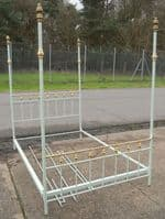Brass & Metal Painted Four Poster Double Bed